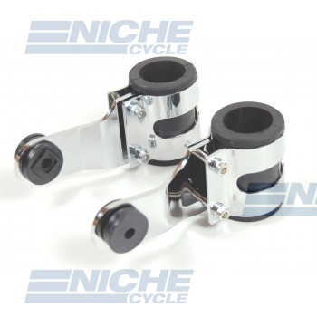 Chromed Aluminum Headlight Brackets - Heavy Duty 66-35850