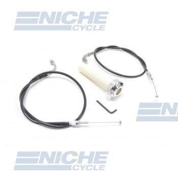 Honda Style Push/Pull Throttle Assembly w/Cables - Chrome KRS-001C
