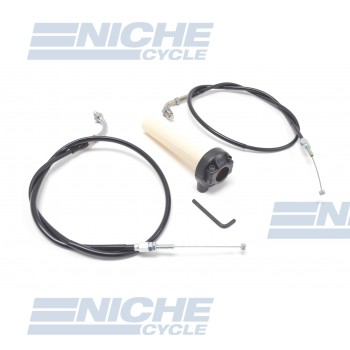 Honda Style Push/Pull Throttle Assembly w/Cables - Black KRS-001B
