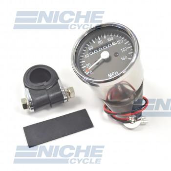 Mini Speedometer Gauge w/Bar Clamp 160 MPH - 60MPH=2240RPM 58-43670