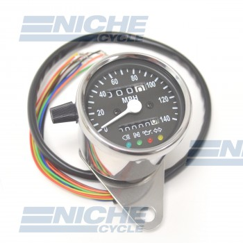 Mini Speedometer Gauge 140 MPH Dummy Lights - 2:1 Ratio 58-43691