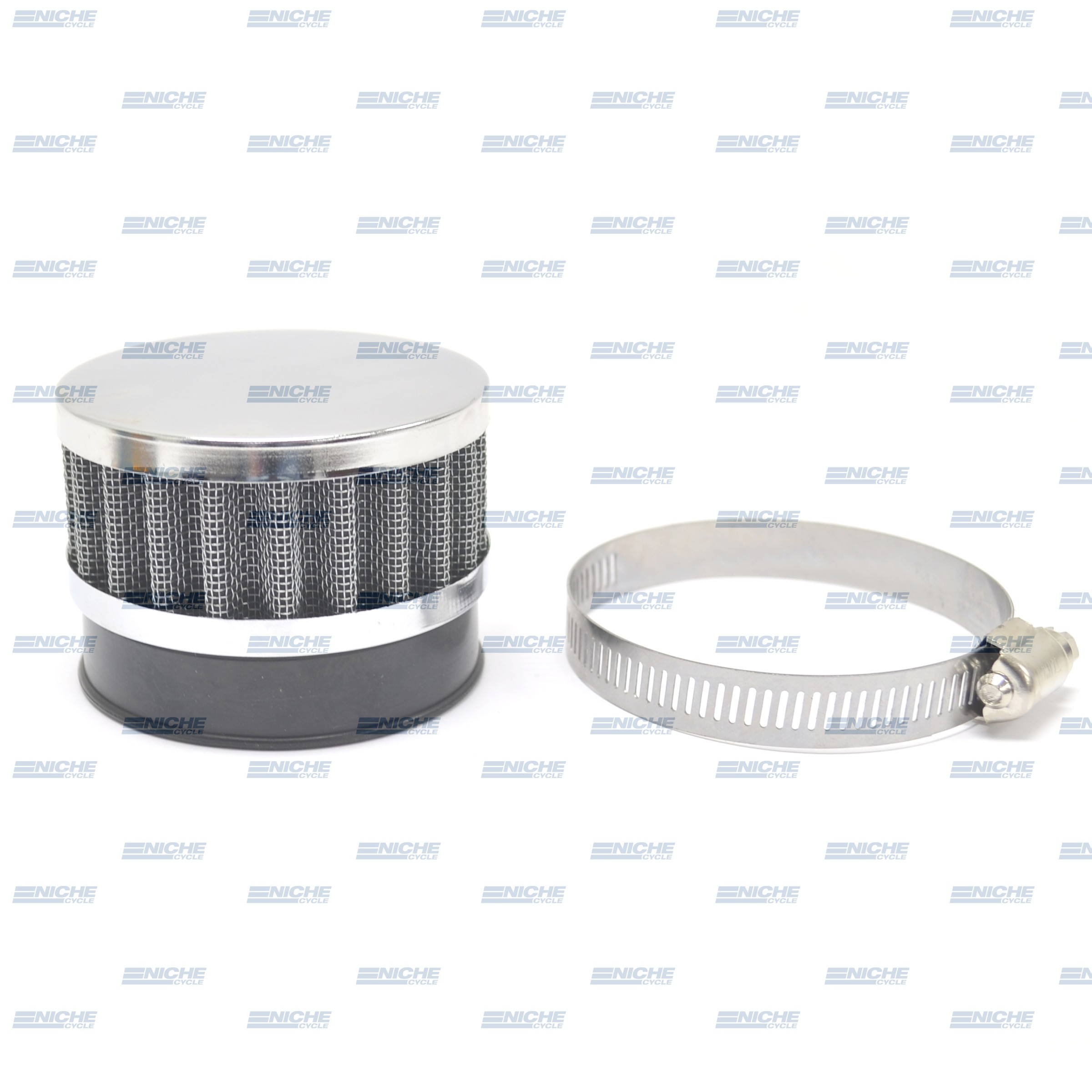 60mm Chrome End Cap Air Filter 12-50360