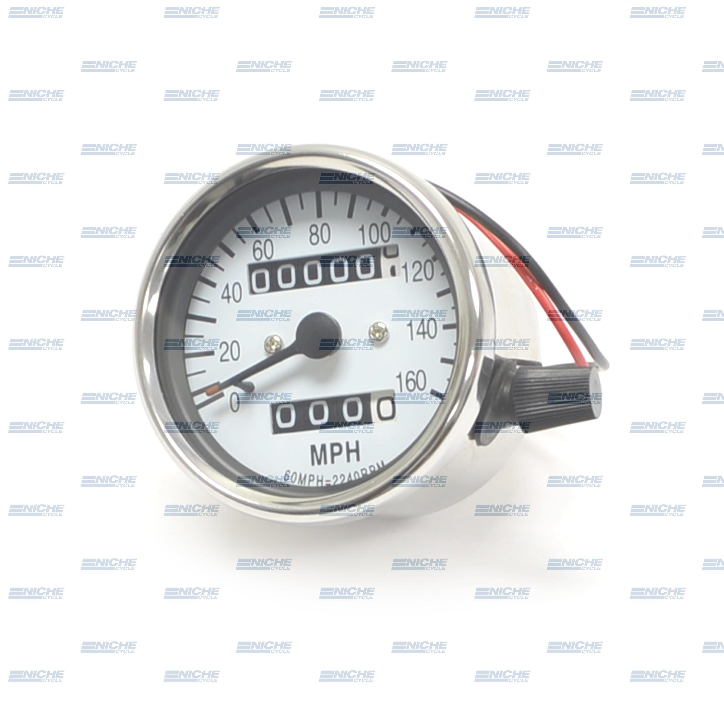 Mini Speedo 2.1:1 ODO/Trip White 58-43669A