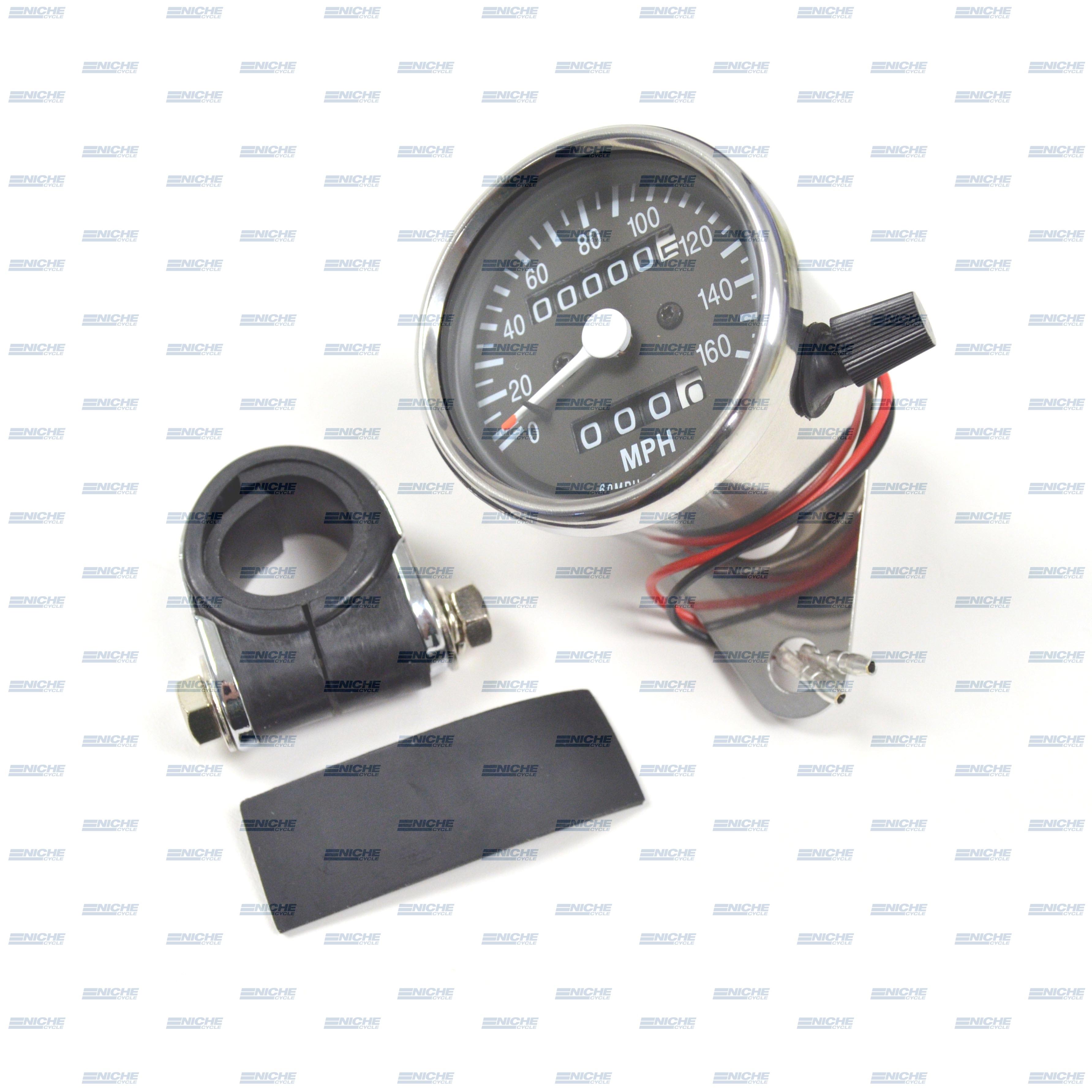 Mini Speedometer Gauge w/Bar Clamp 160 MPH - 2.1:1 Ratio 58-43667
