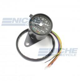Black Mini Speedometer Gauge 140 MPH Dummy Lights - 2240=60 Ratio 58-43683B