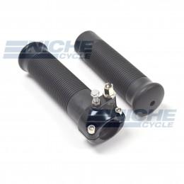 "1"" Single Pull Black Throttle Assembly w/Grips 44-29482B"