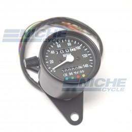Black Mini Speedometer Gauge 140 MPH Dummy Lights - 2:1 Ratio 58-43691B