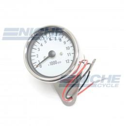 "Polished 2.5"" Mini Tachometers - White Face 58-4369XA"