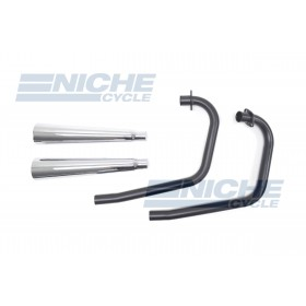 Honda CB360 MAC 2-Into-2 Black,Chrome Exhaust System