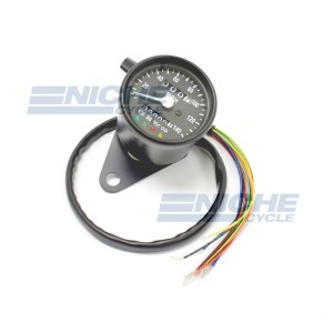 Black Mini Speedometer Gauge 140 MPH Dummy Lights - 2240=60 Ratio 58-43683B