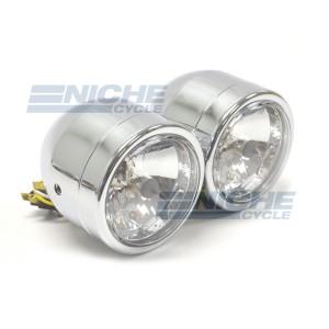 """Dual Beam 3.5"""" Crystal Clear Lens Headlights - Chrome 66-64430"""