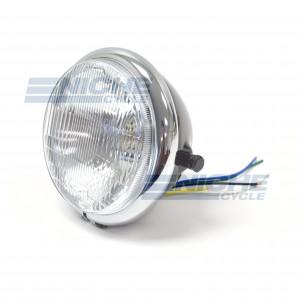 "Bates Style 5.75"" Black & Chrome Side Mount Headlight with Blue Dot Beam Indicator 66-84101B"