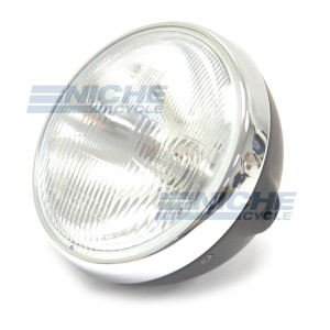 "7"" Headlight w/Sealed Beam Flat Blk/Chr 66-64362D"