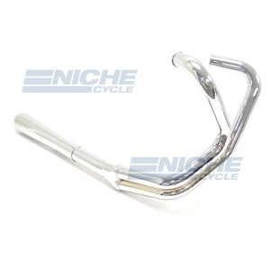YAMAHA XS650 2-1 Chrome EXHAUST w/REVERSE CONE MAC-21-Y650