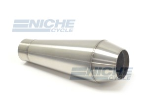 "Reverse Cone Slip On Stainless Steel Muffler 12"" MC-12-SS"