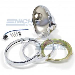 "Headlight Shell 7"" Kawasaki Fit- Chrome 66-65042"