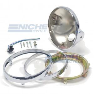 "Universal Side Mount 7"" Chrome Headlight Shell Assembly 66-65040"