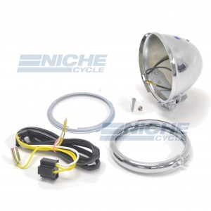 "Bates Style 4.5"" Chrome Bottom Mount Headlight Shell Kit 66-84120"