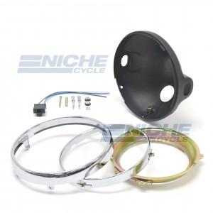 """Headlight Shell 7"""" Kawasaki Fit- Black 66-65012"""