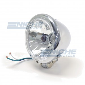 "Headlight 4.5"" w/H4 Bottom Mount- Chrome 66-84127"