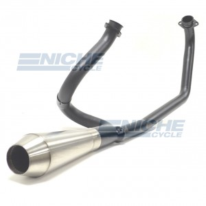 "Yamaha Virago 750/920 Black Exhaust System with 12"" Stainless Steel Reverse Cone High Performance Muffler NCS4003-12"