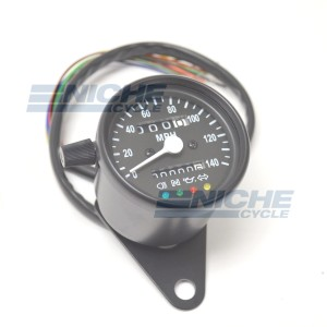 Black Mini Speedometer Gauge 140 MPH Dummy Lights - 2:1 Ratio 58-43691B