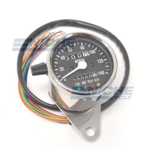 Mini Speedometer Gauge 140 MPH Dummy Lights - 2:1 Ratio 58-43691