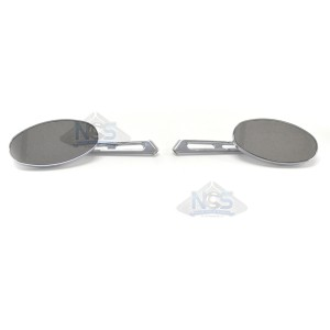 Billet Oval Mirror Set For Metric Cruisers - Short Stem 20-26305