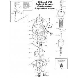 Mikuni VM34 Round Slide 34mm Carburetor - Right VM34-275