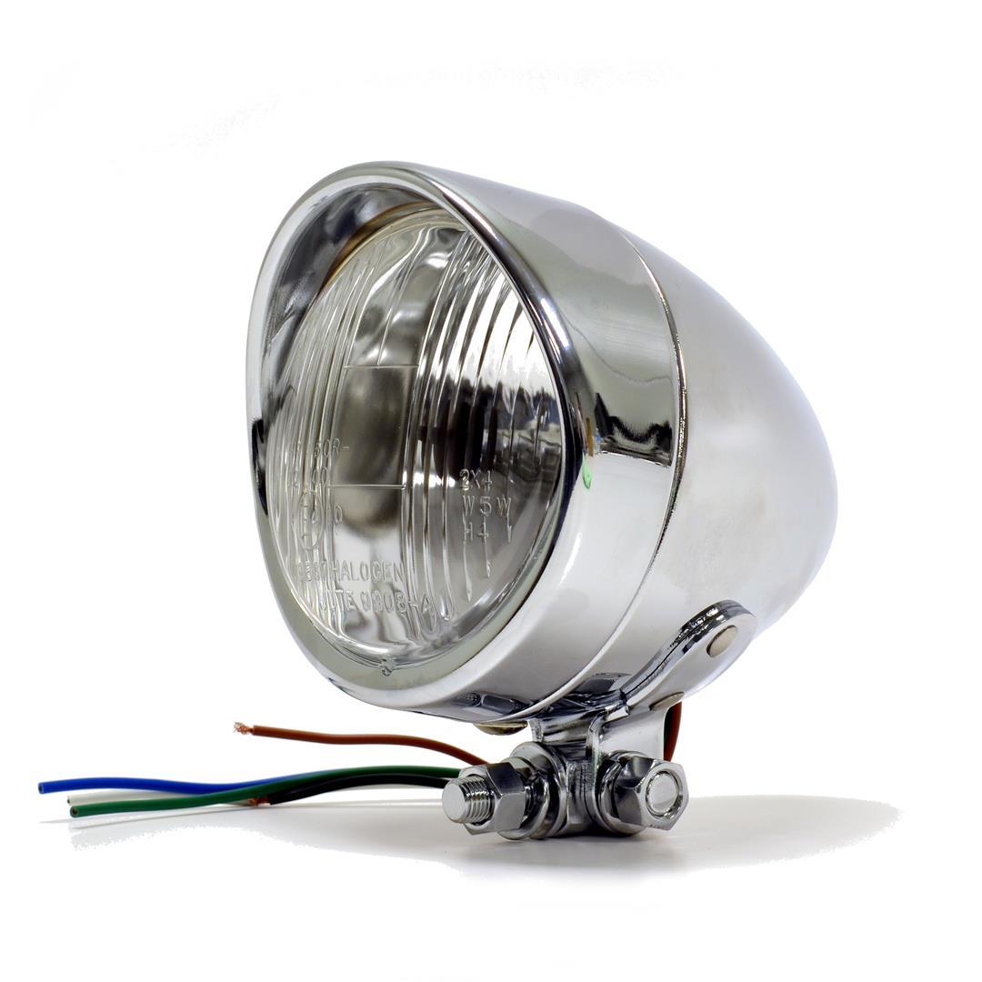Motorcycle Headlight Assembly : Hooded headlight assembly chrome bottom mount