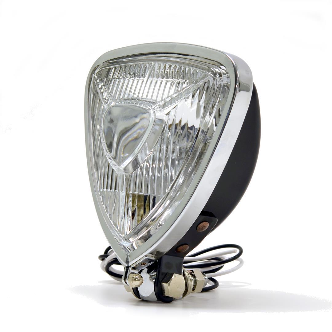 Spotlight Headlight: Triangle Aris Style Headlight Spotlight Black Bottom Mount