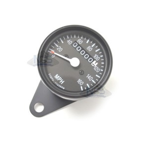 Mini Speedo 2240=60MPH Trip/Clamp Black 58-43670B