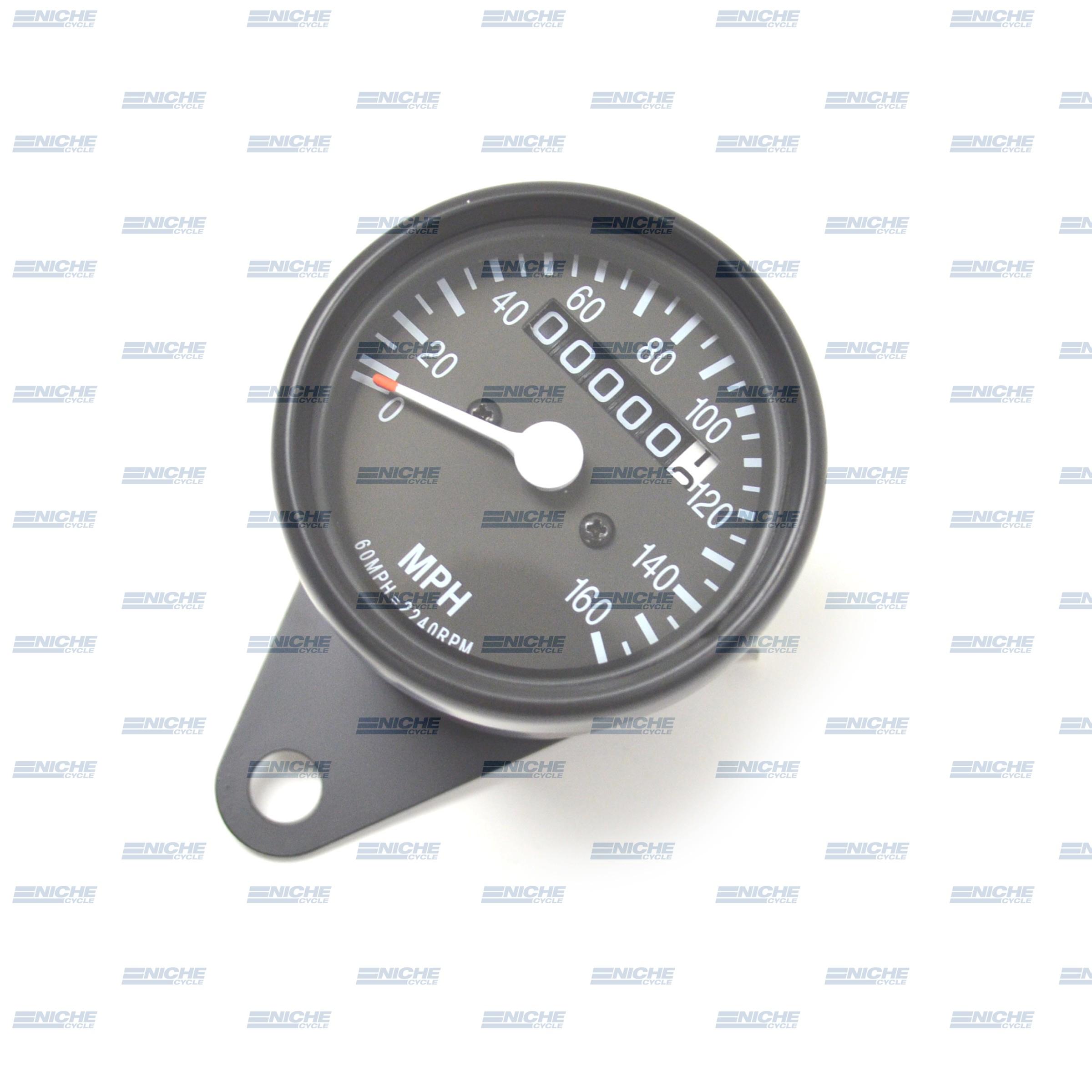 Mini Speedo 2240=60MPH Trip/Clamp Black 58-43670B