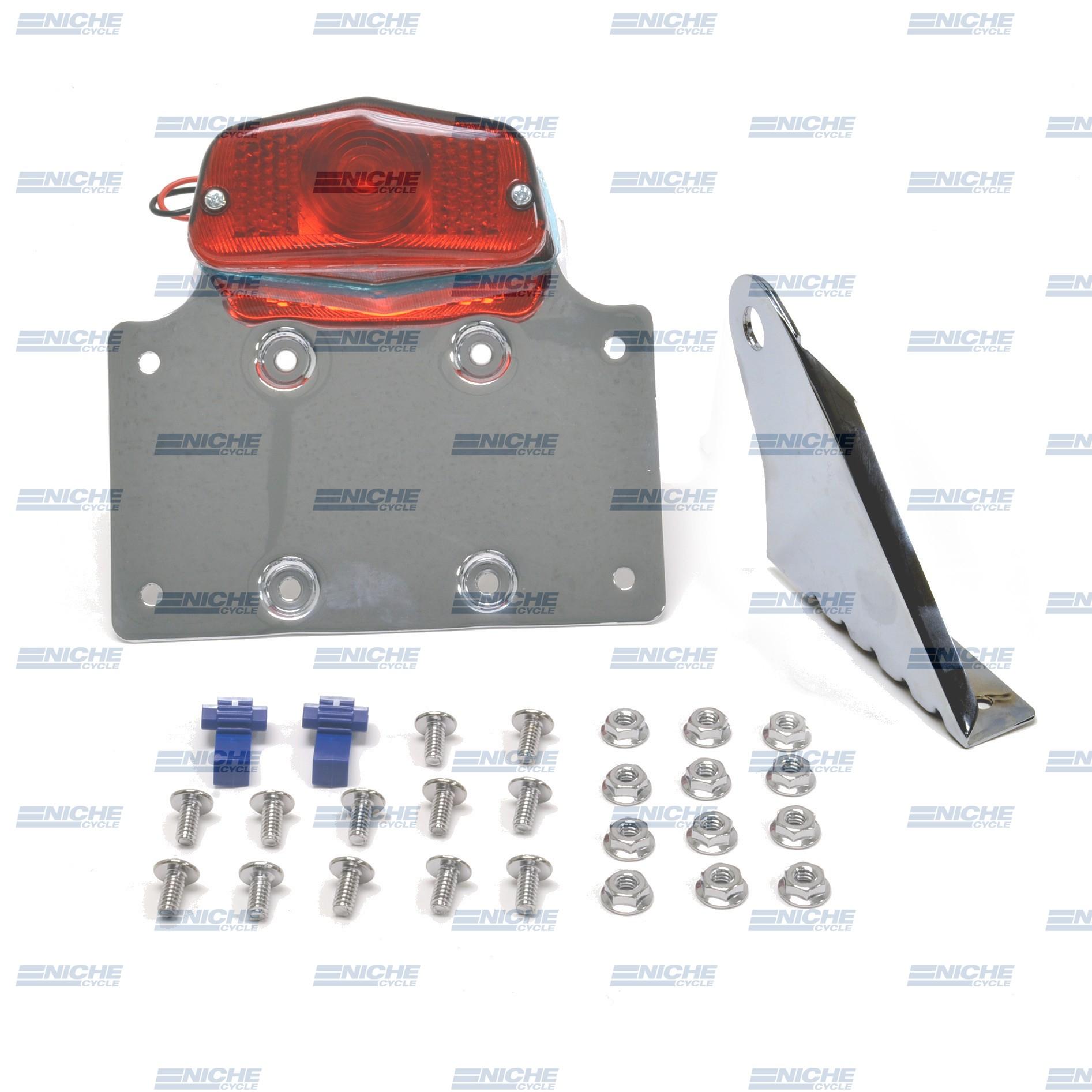 Universal Axle Mount Chrome Taillight & Plate Bracket 62-21551