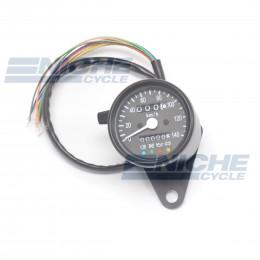 Black Mini Speedometer Gauge 140 KPH Dummy Lights - 4:1 Ratio 58-43690B