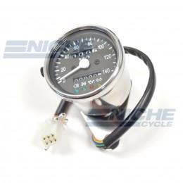 Mini Speedometer Gauge 140 KPH Dummy Lights - 4:1 Ratio 58-43690