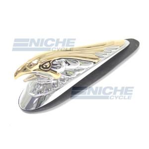 "Chrome/Gold ""Live To Ride"" Eagle Fender Emblem 07-83231"