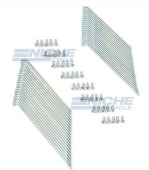 Kawasaki H1 500 H2 750 Z1 KH500 White Zinc Spoke Kit - Front Wheel 16-57141
