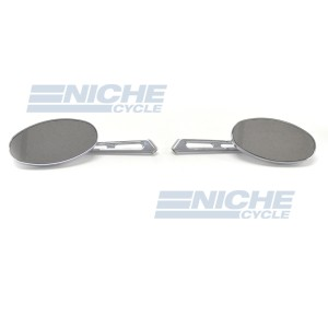 Billet Oval Mirror Set For Metric Cruisers - Short Stem 20-26305
