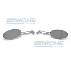 Billet Oval Mirror Set For Metric Cruisers - Long Stem 20-26307