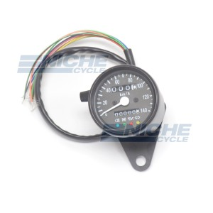Black Mini Speedometer Gauge 140 KPH Dummy Lights - 4:1 Ratio 58-43690B
