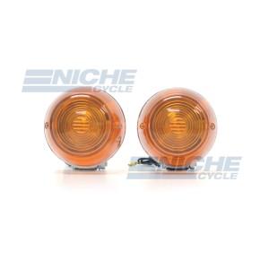 Honda CT70-CB750 Turn Signals - Chrome Housing with Amber Lens 60-36110