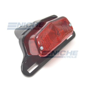 Lucas Style Taillight & Plate Holder - Gloss Black 62-21510B