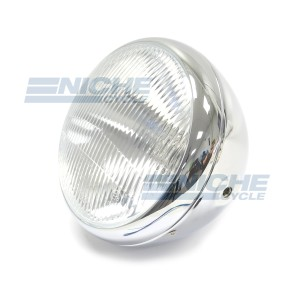 Lucas-Style Headlight Assembly with Switch & Warning Light Holes 66-65063L