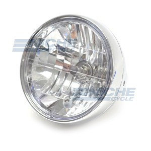 """7.5"""" ECE Approved Side Mount Chrome Headlight - Crystal Clear Lens with H4 Bulb and Pilot Light 66-65191"""
