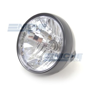 """7.5"""" ECE Approved Side Mount Black Headlight - Crystal Clear Lens with H4 Bulb and Pilot Light 66-65191B"""