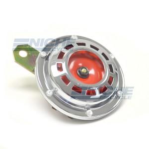 Horn- Chrome/Red 93mm 12 Volt 86-18082