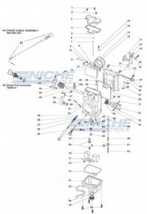 HSR42/Mikuni TM42 Exploded View - Replacement Parts Listing HSR42-TM42_parts_list