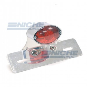 Single Small Cateye Brake Light with License Plate Bracket 62-21601