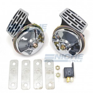 High Decibel 12v Twin Horns Chrome/Black 86-64612